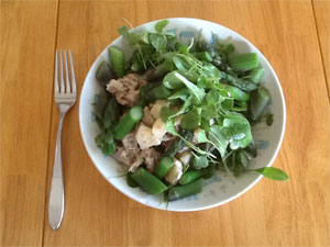 Clario Spring Salad with chicken, asparagus, and fresh baby mescalun greens